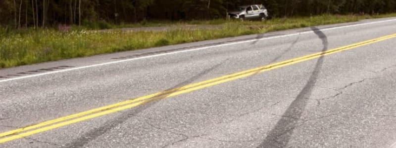 Bil i grøften har efterladt bremsespor