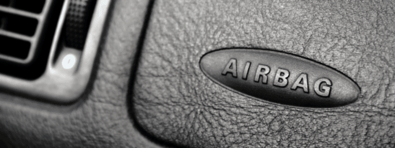 Airbag sign on a car's dashboard