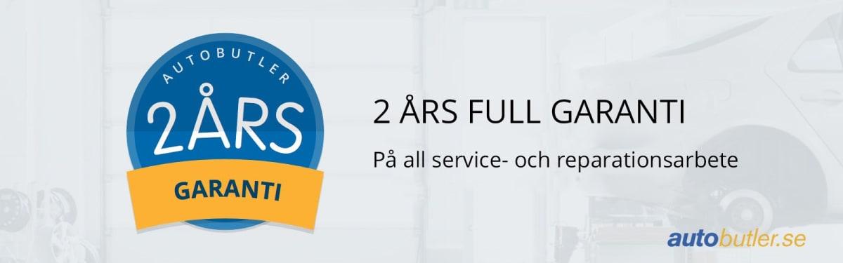 Två års garanti på all service- och reparationsarbete som utförs genom autobutler.se