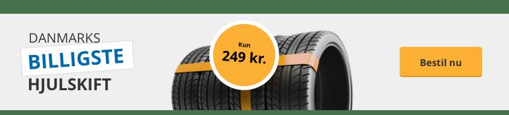 Danmarks billigste hjulskift - kun 249 kr. Bestil på autobutler
