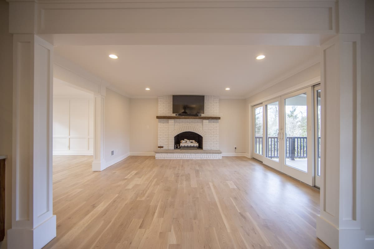 House living room and fireplace