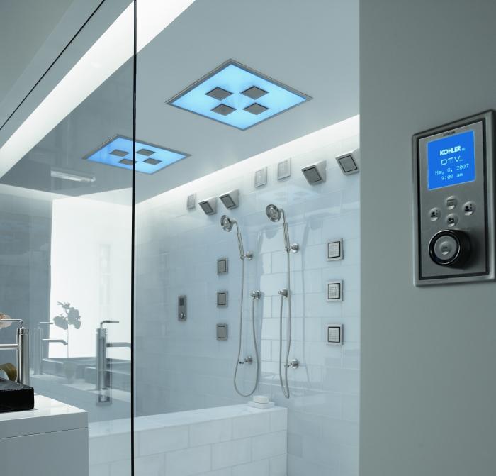 stimmungsvolles ambiente schaffen mit einer beleuchtung in der dusche. Black Bedroom Furniture Sets. Home Design Ideas