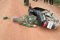 One of the military officers was hit...