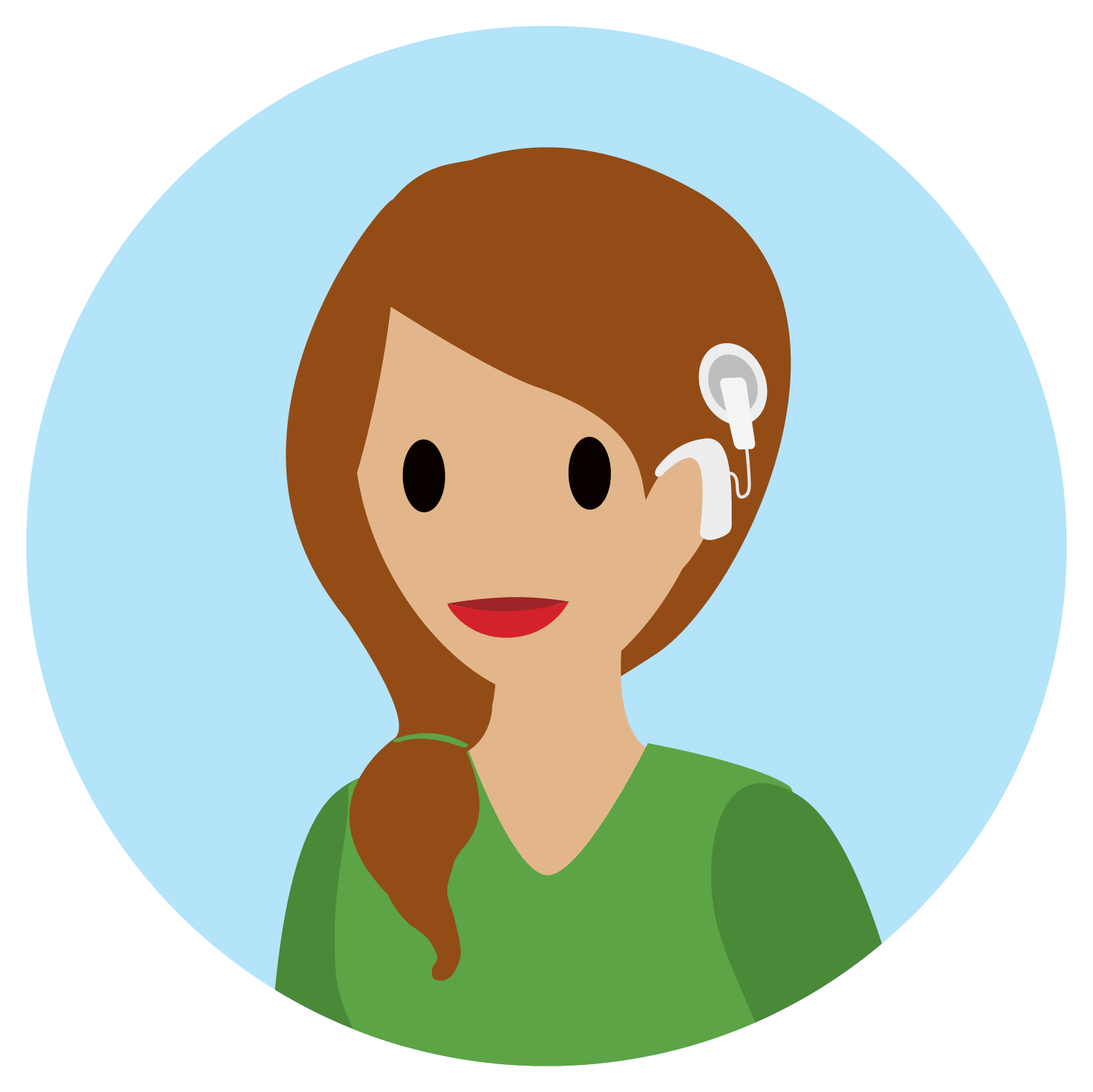 Woman smiling wearing a cochlear implant.