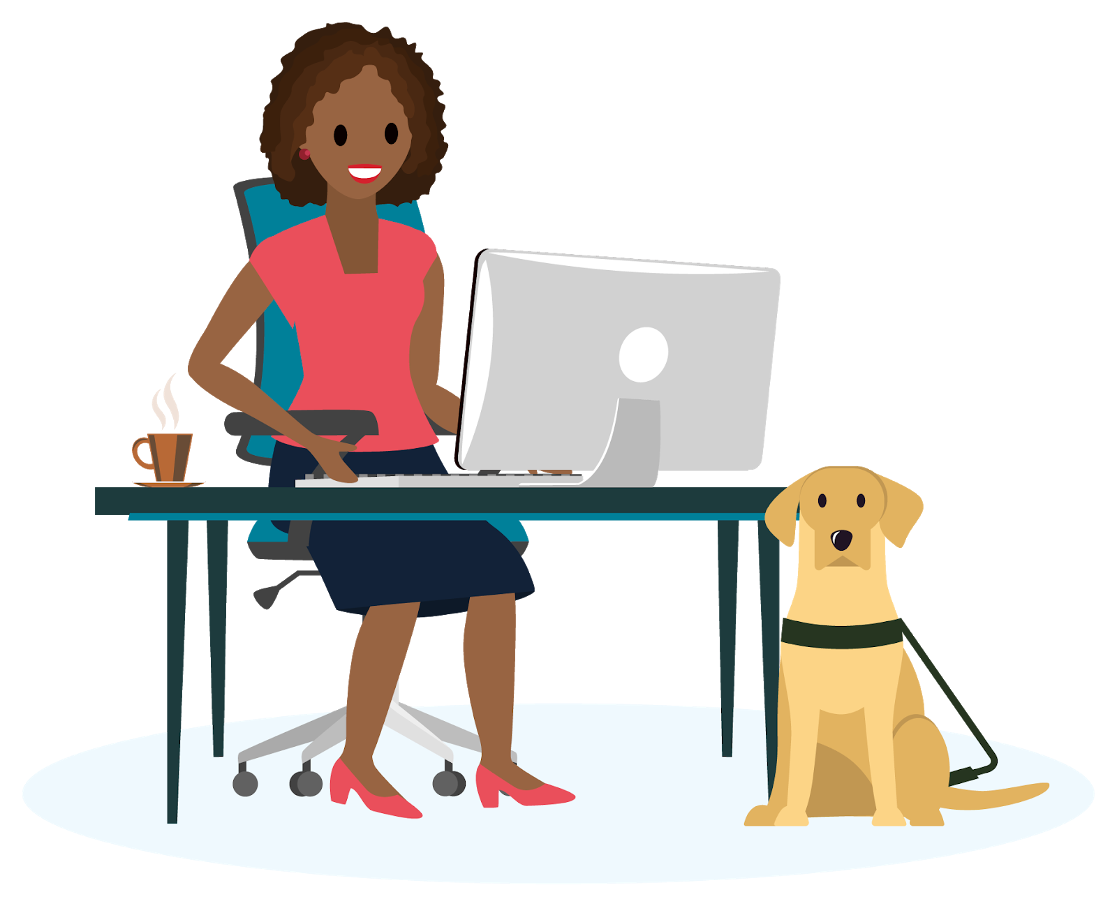 Woman sitting at a desk typing on a keyboard with a yellow lab guide dog sitting beside her.