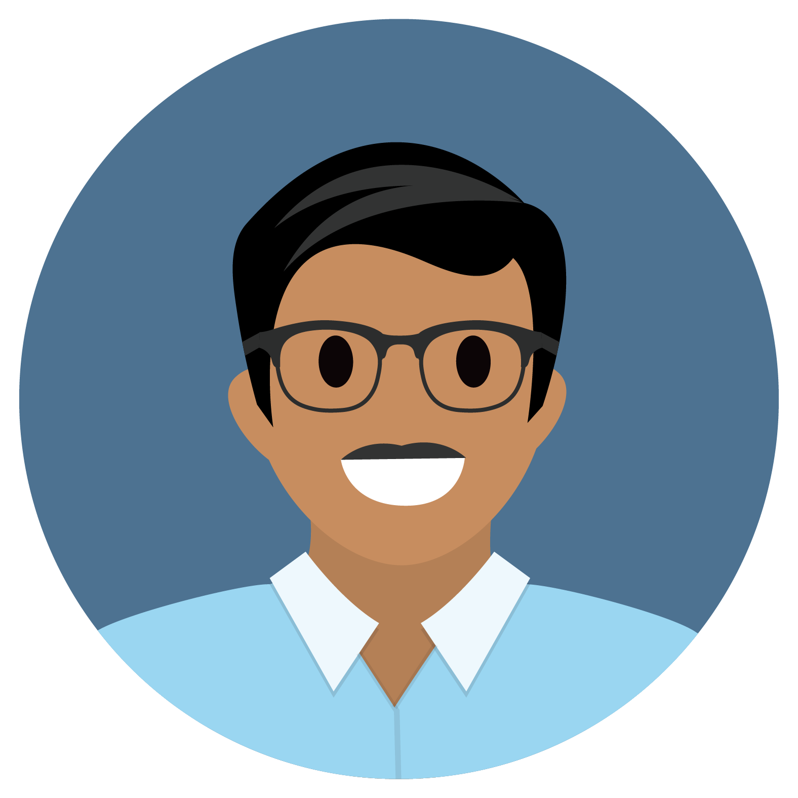 Man smiling wearing eyeglasses.