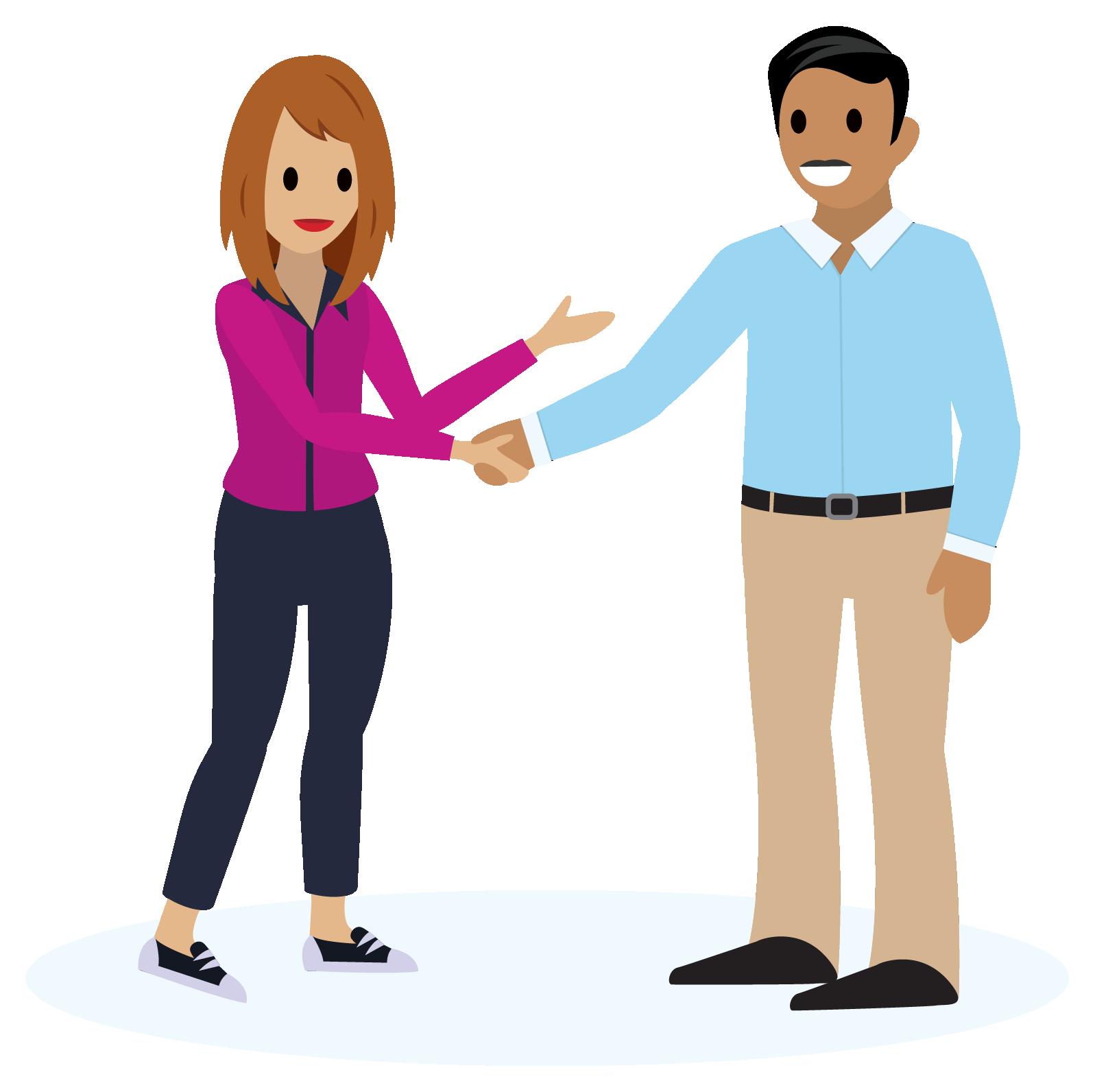 Homem e mulher sorrindo, apertando as mãos.