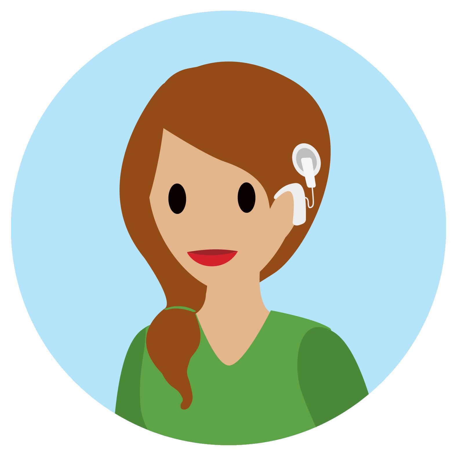Mulher que utiliza um implante coclear sorrindo.