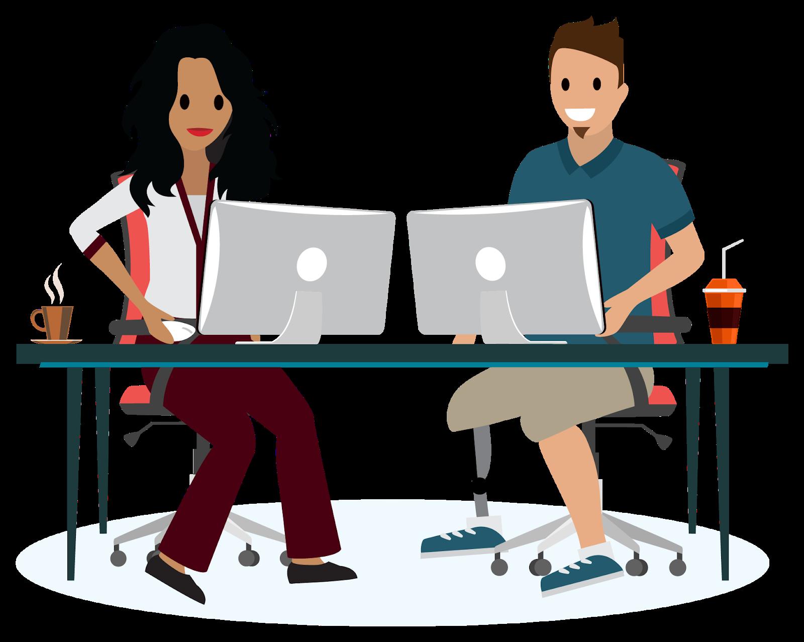 Uma mulher e um homem sentados enquanto utilizam computadores e sorriem. O homem possui uma prótese na perna.