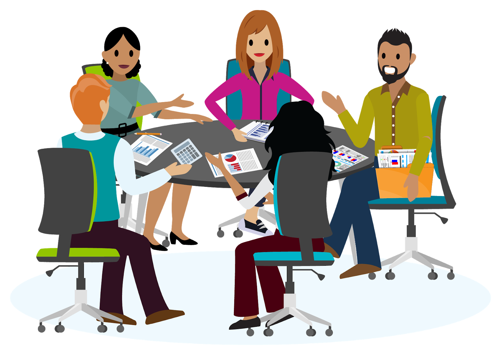 Grupo de 5 pessoas, três mulheres e dois homens, sentados em uma mesa discutindo alguns documentos.