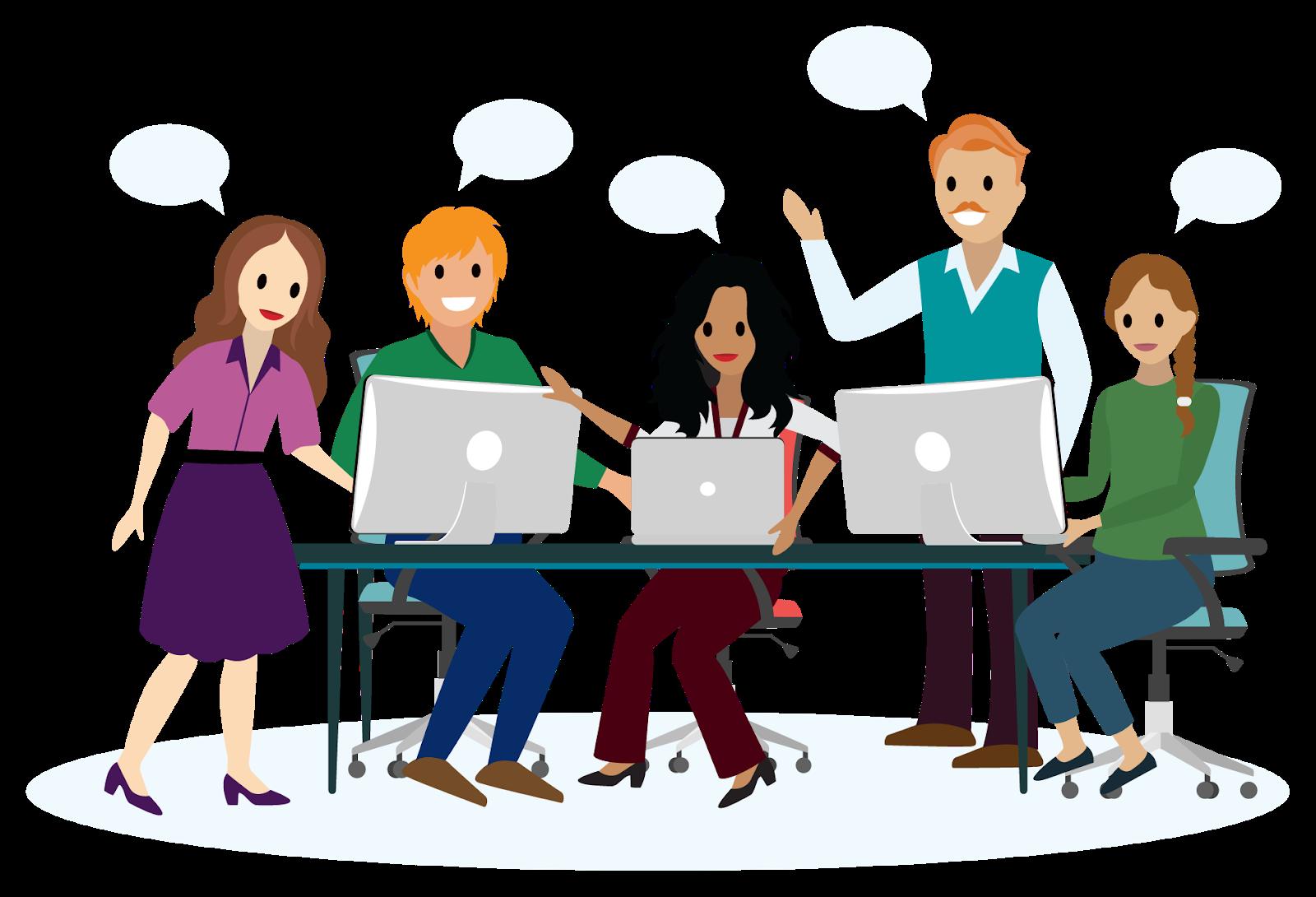 Grupo de 5 pessoas que têm uma discussão dinâmica em grupo ao redor dos computadores.