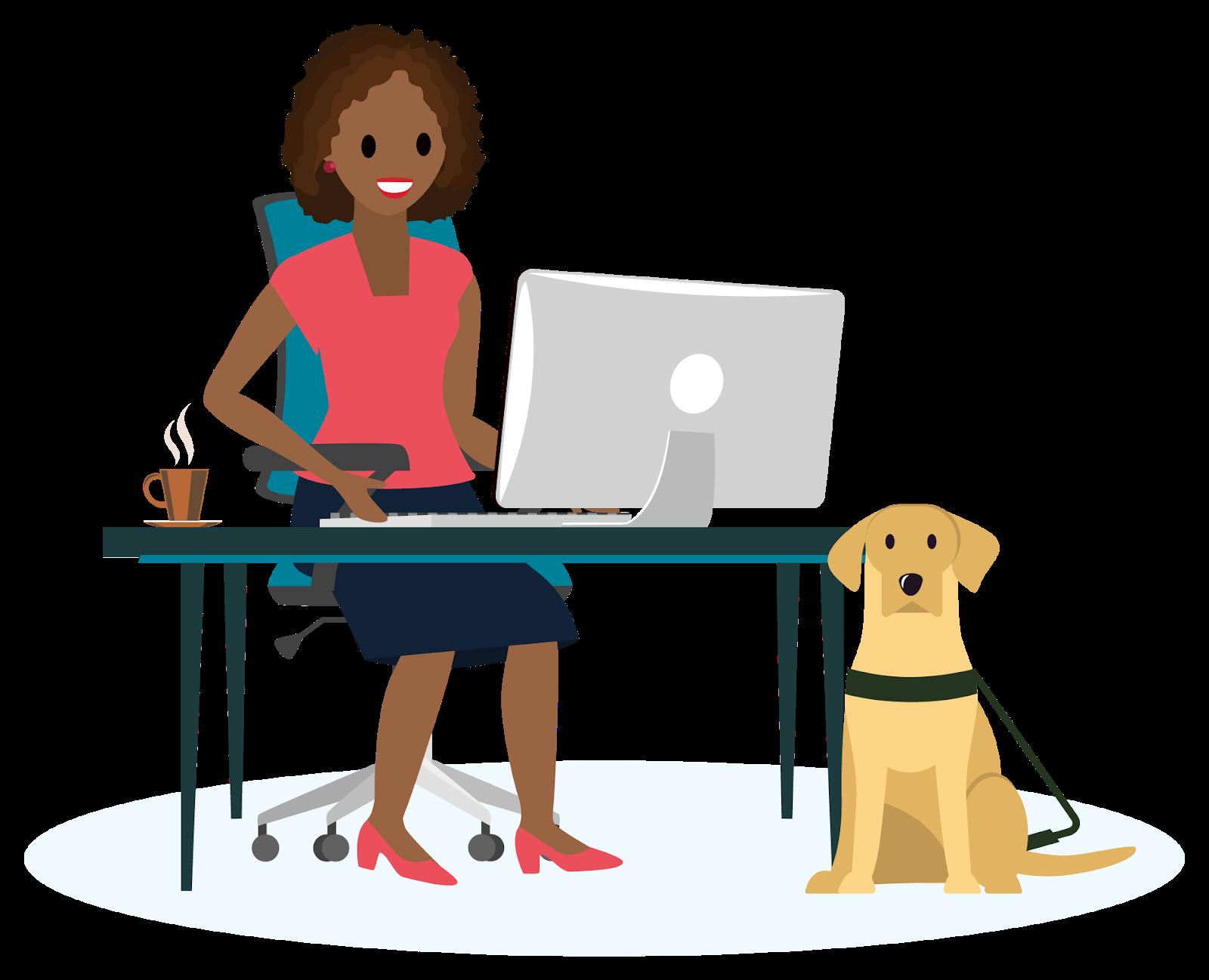 Mulher sentada em uma mesa, digitando em um teclado com um cachorro-guia labrador amarelo sentado ao lado seu lado.