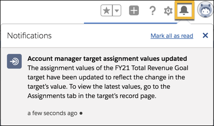 An in-app notification that changes have been updated and propagated for the assignment values of a record.