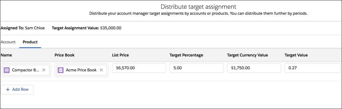 The Distribute target assignment page showing a target assignment by product.