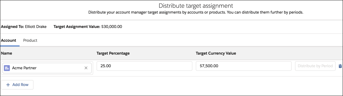 The Distribute target assignment page with the Acme Partner account selected.