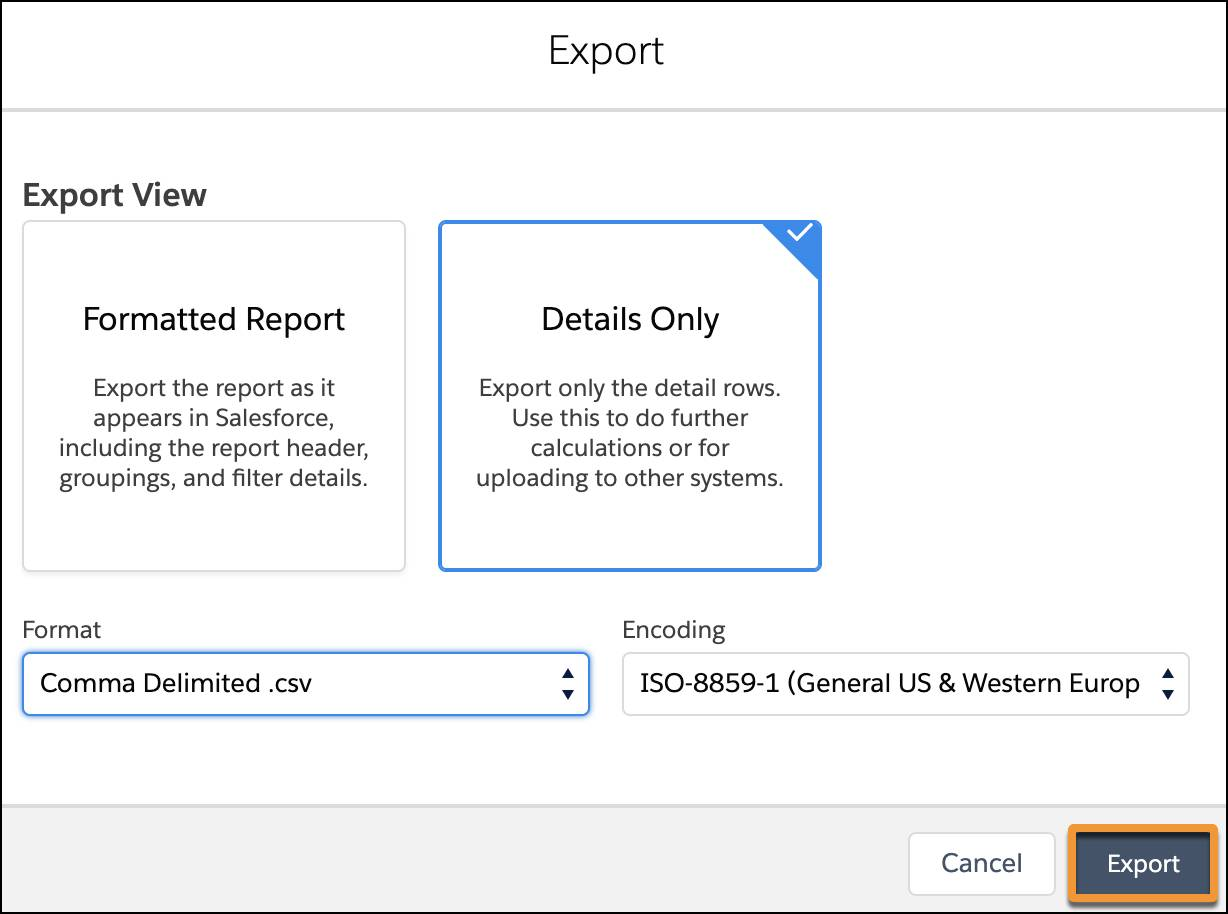 The Export options interface with Details Only and Comma Delimited .csv selected