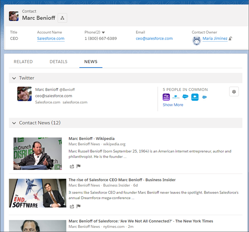 Salesforce co-CEO Marc Benioff's Twitter feed is accessed from his Contact record in Salesforce.