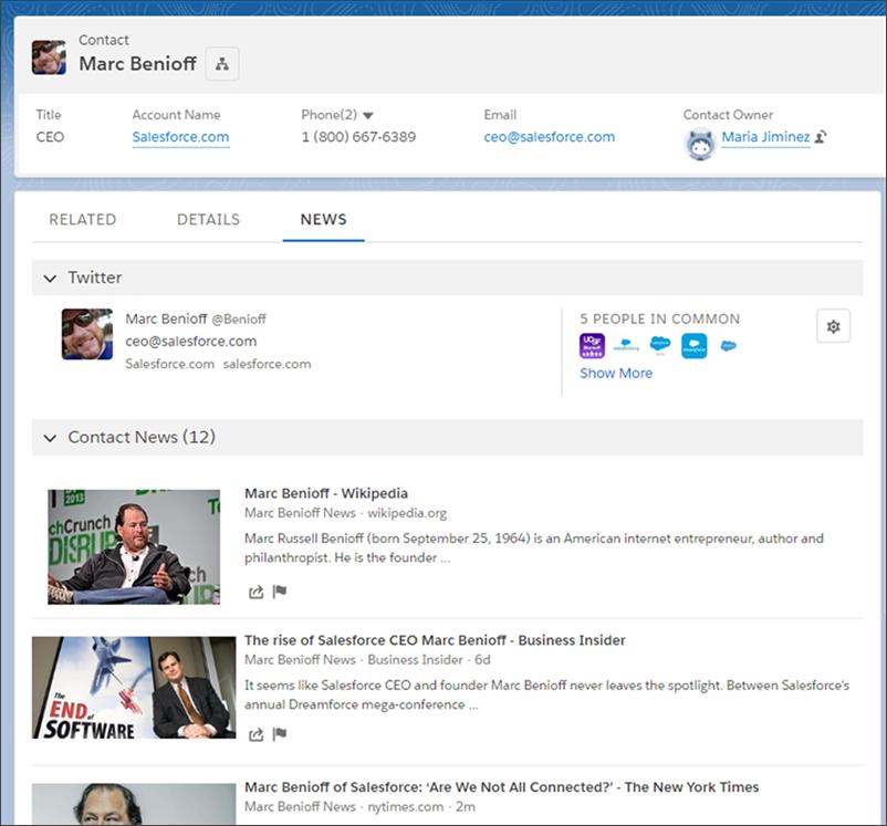 Salesforce の共同 CEO である Marc Benioff の Twitter フィードには、Salesforce の本人の取引先責任者レコードからアクセスできます。