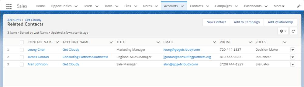 The Contacts to Multiple Accounts list shows both direct and indirect contacts for an account.