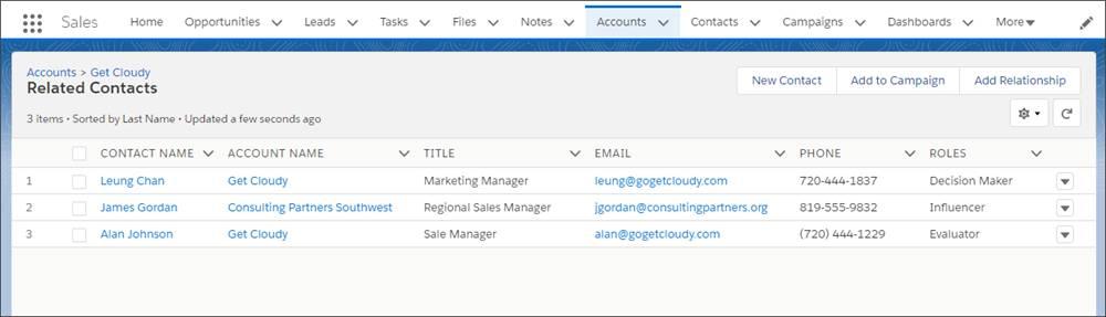 La liste Contacts de comptes multiples affiche les contacts directs et indirects d'un compte.