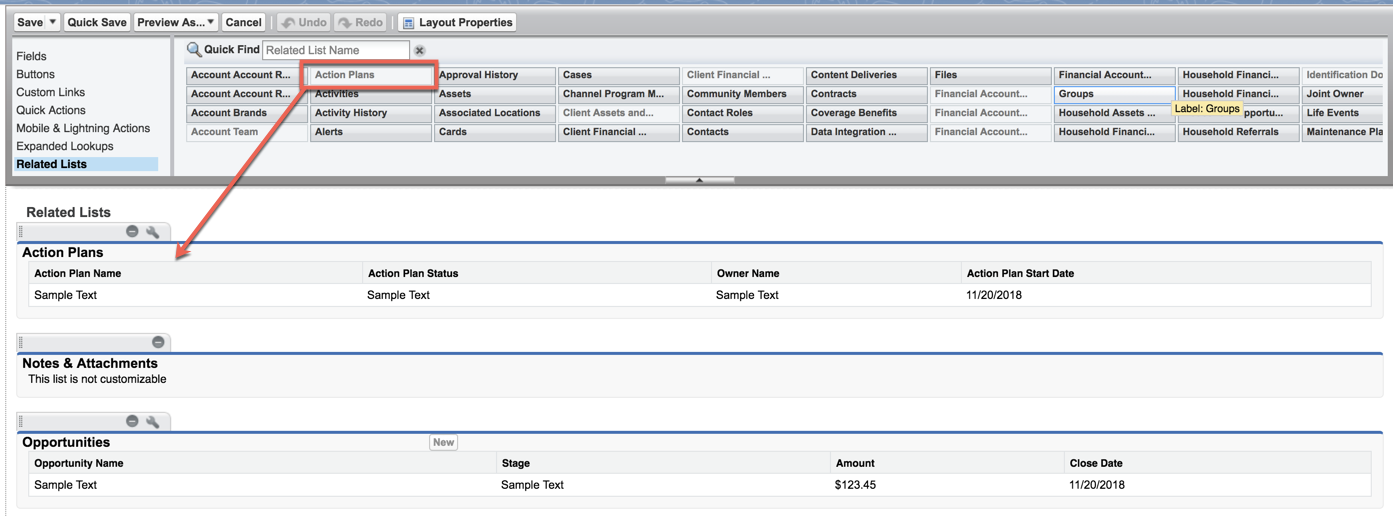 The Action Plans related list added to the Account object page layout.