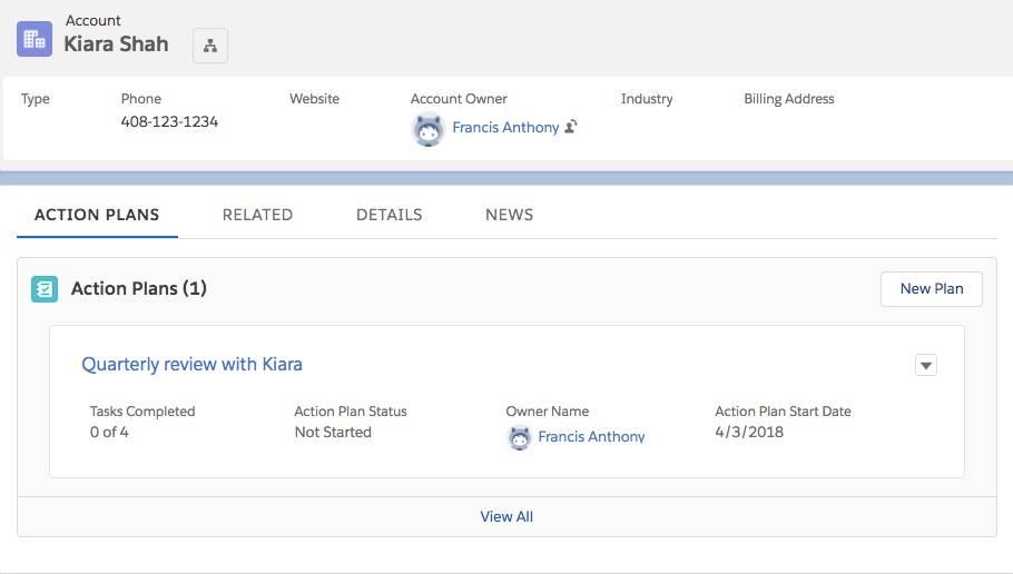 Kiara の取引先ページから直接作成された Kiara Shah の財務計画の四半期レビューのアクション。