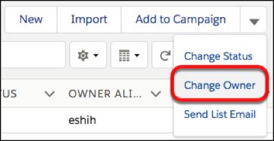 ページレベルのアクションメニューの追加アクションドロップダウンの [所有者の変更] ボタン