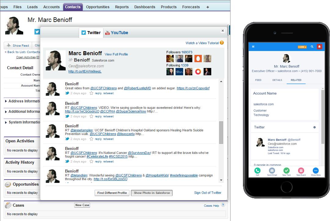Paralleler Vergleich von Twitter in Salesforce auf dem Desktop und einem mobilen Gerät