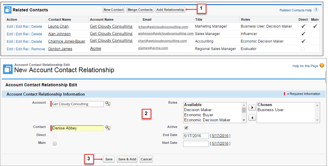 Create relationships  between contacts and accounts