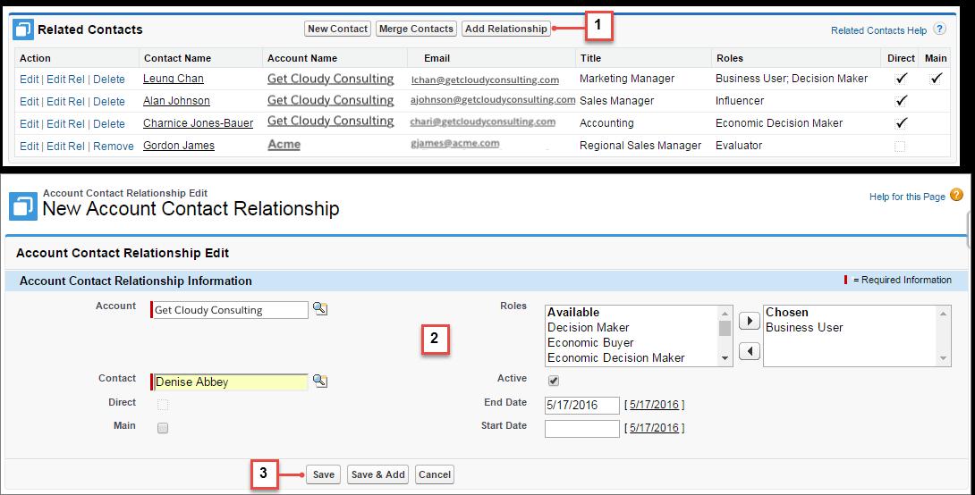 Erstellen von Beziehungen zwischen Kontakten und Accounts