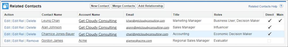 Die Liste 'Zugehörige Kontakte' enthält alle mit dem Account verknüpften Kontakte