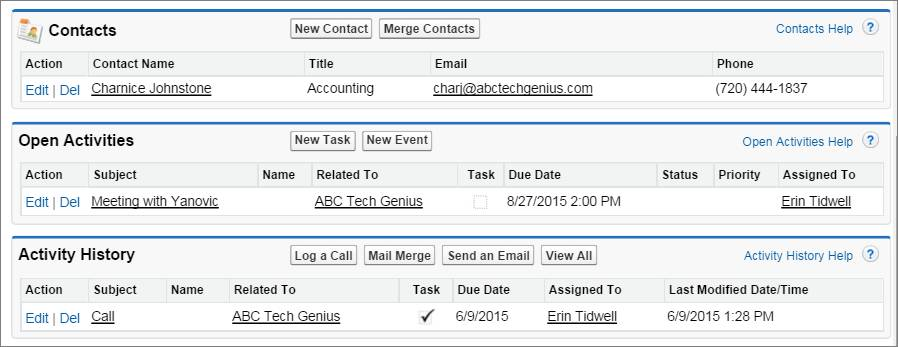A screenshot of related lists fof Contacts, Open Activities, and Activity History