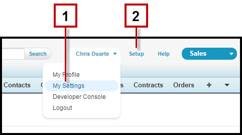 A screenshot showing where to locate My Settings and Setup in the Salesforce header
