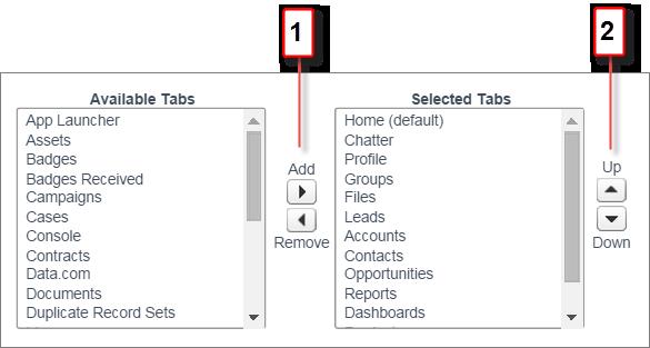 タブの追加、削除、並び替えの位置を示すスクリーンショット