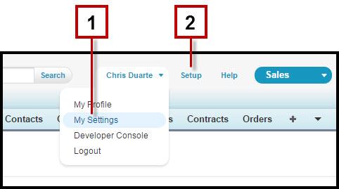 Salesforce ヘッダー内の [私の設定] と [設定] の位置を示すスクリーンショット