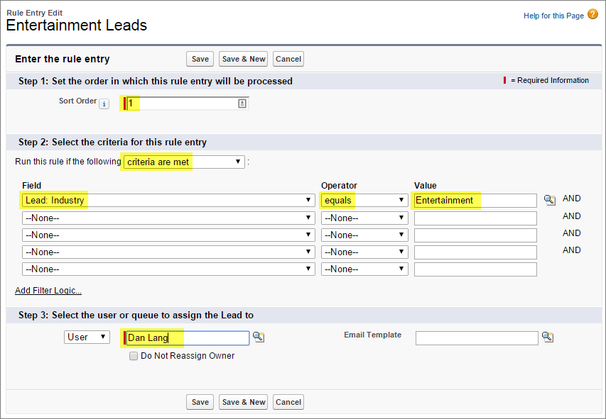 Lead assignment rule entry dialog box