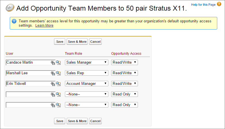 A screenshot of the Add Opportunity Team Members page