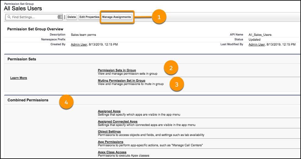 Permission set groups setup page