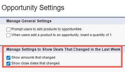 The Opportunity Settings page in Setup, with the new Manage Motion Settings section highlighted.