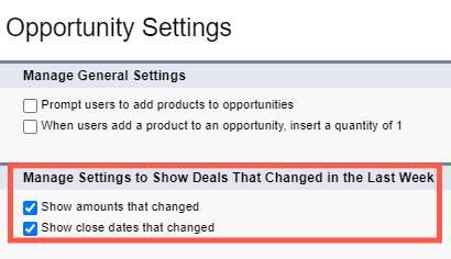 新しいモーションの管理設定セクションが強調表示されている [設定] の [商談の設定] ページ