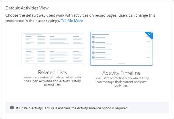 [関連リスト] と [活動タイムライン] の活動ビューが表示されている [レコードページの設定] 設定ページ。