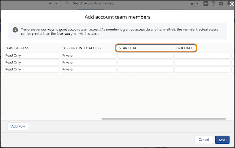 Add Account Team Members multiline editor including columns for custom fields Start Date and End Date