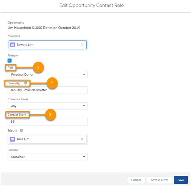Opportunity Contact Role object edit screen. #1 Role, #2 Campaign, #3 Contact Score