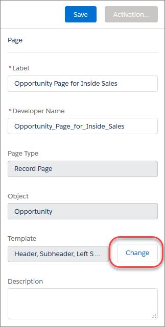 [変更] ボタンが強調表示されているページのプロパティパネル