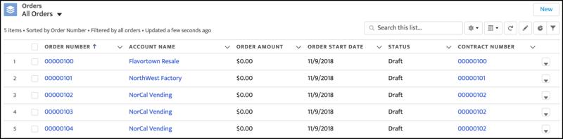 取引先リレーションデータ共有ルールが取引先リレーションに関連付けられた後の [すべての注文] リストビュー