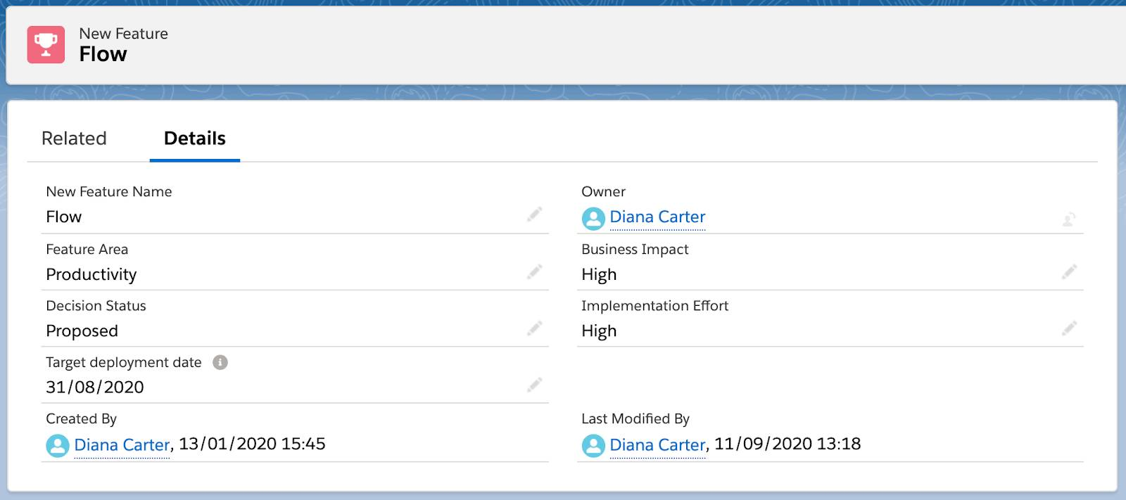 Example record 2 in custom Release Management object.