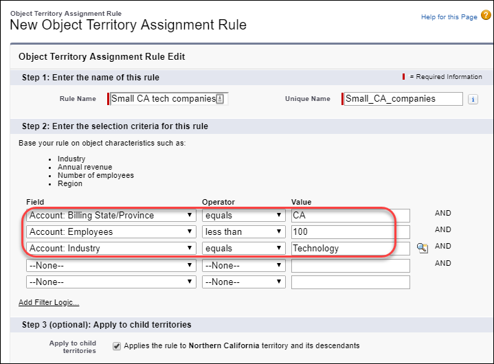 Assignment rule for small California tech companies, with three filter criteria defined