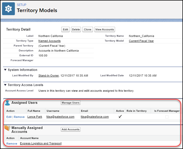 Territory detail page showing users and accounts assigned