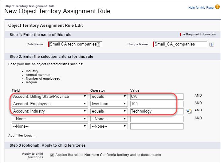 3 つの検索条件が定義された、カリフォルニア州の小さなテクノロジー会社の割り当てルール