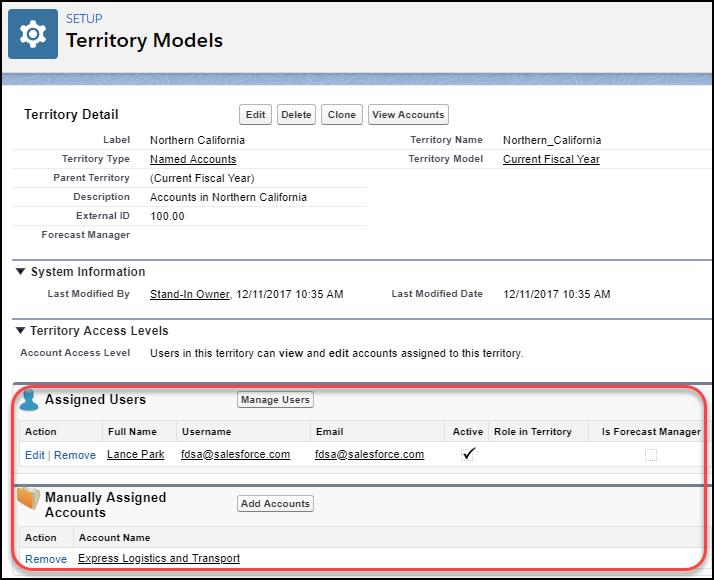 割り当てられたユーザと取引先を表示するテリトリーの詳細ページ